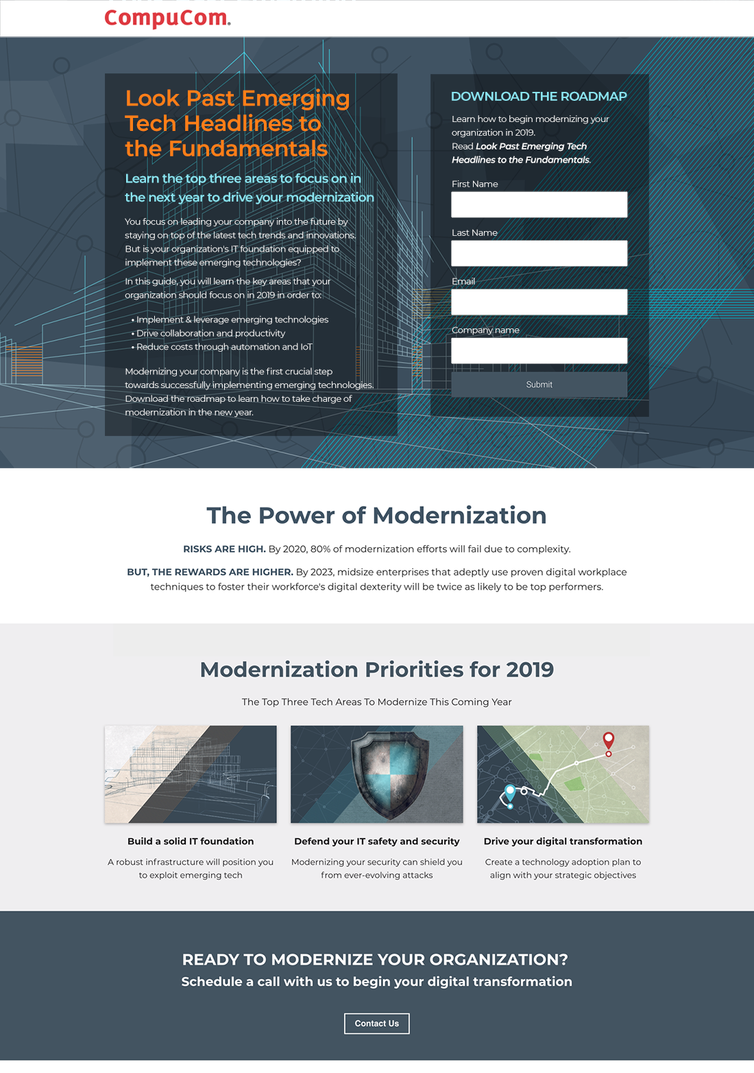 Modernization Landing Page